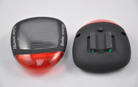 Solar powered rear light for bicycle.