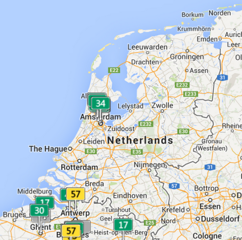 Amsterdam/Rotterdam areas today.