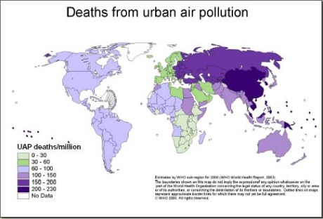 Death rates due to urban air pollution, from WHO.